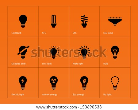 Light bulb and LED lamp icons on orange background. Vector illustration.