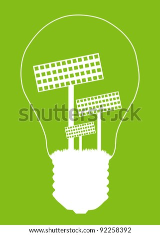 Light bulb and solar panel inside. Alternative energy concept vector background poster - stock vector