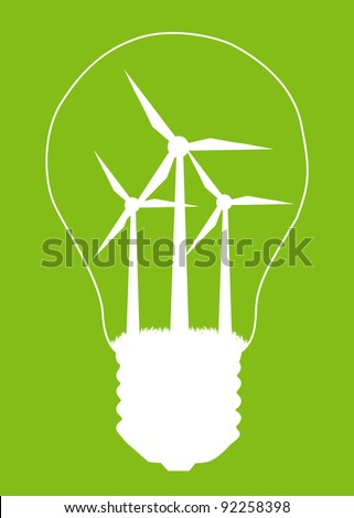 Light bulb and wind mill generator inside. Alternative energy concept vector background poster