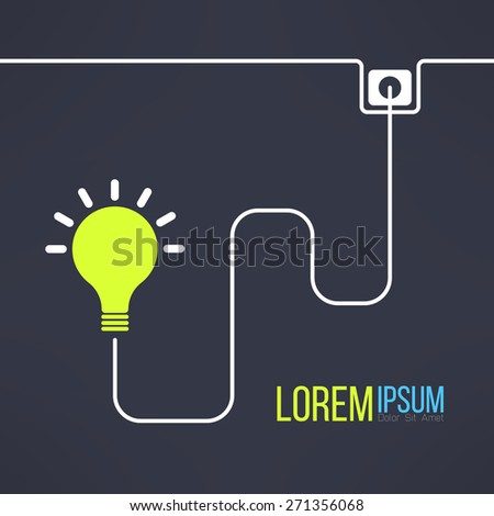 Light bulb background in simple flat design. Inspirational background. Creativity concept. Vector illustration - stock vector
