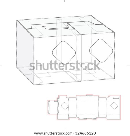 Tapered Square Fast Food Box Handles 316989896 on layout for hexagonal box