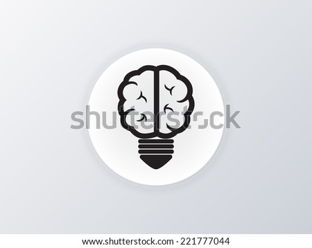 light bulb Brain icon - stock vector