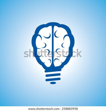 Light bulb brain icon, vector illustration. Flat design style - stock vector