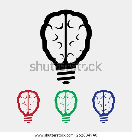 Light bulb brain icon, vector illustration. Flat design style - stock vector