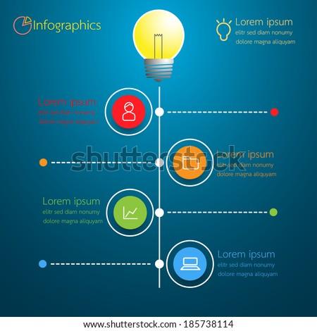 Light bulb business idea infographic modern design. Vector illustration. - stock vector