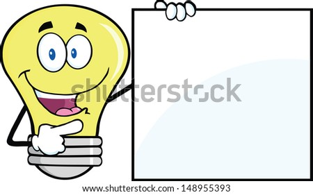 Light Bulb Cartoon Mascot Character Showing A Blank Sign