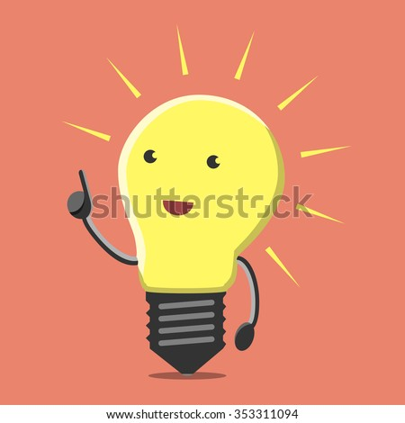 Light bulb character with great new creative idea in aha moment on orange background. Lightbulb, insight, eureka, inspiration concept. Flat style. EPS 8 vector illustration, no transparency - stock vector