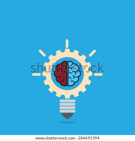 light bulb concept brain inside gear - stock vector