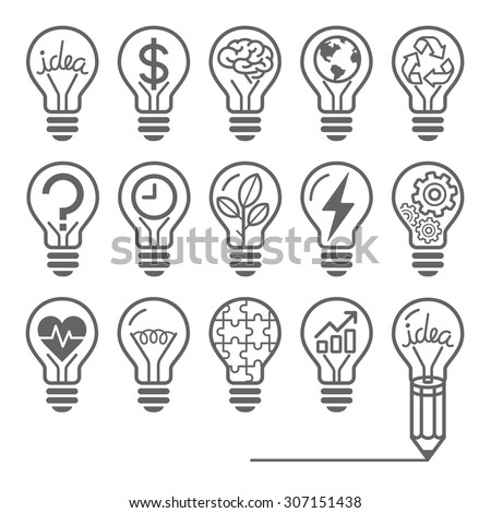 Light bulb concept line icons style. Vector illustration. - stock vector