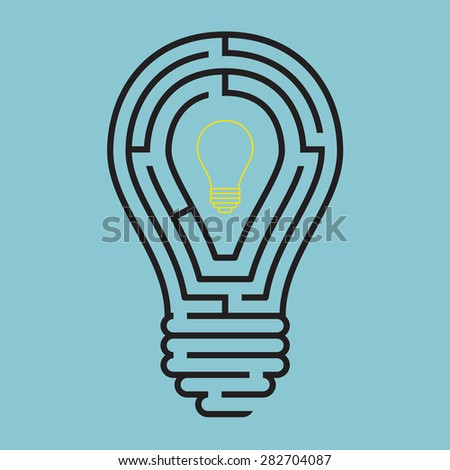 Light bulb conceptual with maze style, Vector
