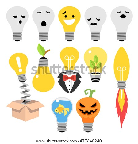 Light bulb creative idea concept. Vector icons set.