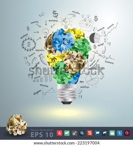 Light bulb crumpled paper with creative drawing business success strategy plan idea, Inspiration concept modern design template workflow layout, diagram, step up options, Vector illustration - stock vector
