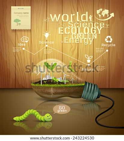 Light bulb ecology concept design background, with sprouts plant, soil, building, worm green, on wood background vector illustrations - stock vector