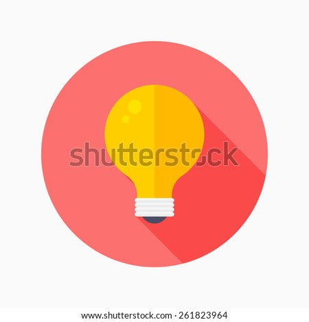 Light-bulb flat icon with long shadow on blue circle background , vector illustration , eps10 - stock vector