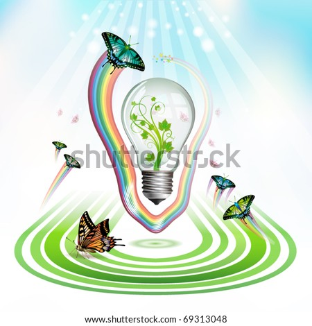Light bulb for eco environmental concept, vector illustration