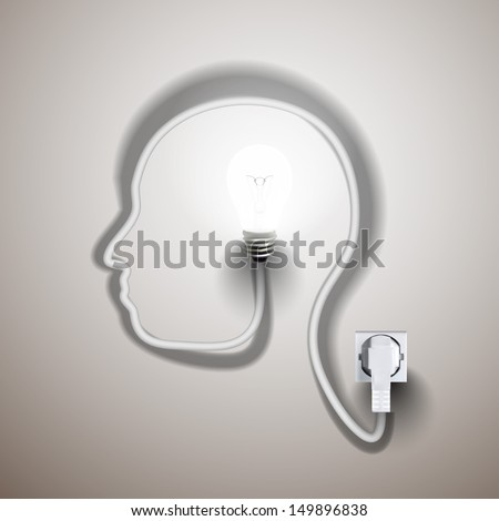 Light Bulb forming human face profile with its cable. Creative concept for your design idea, Eps10, vector illustration. - stock vector