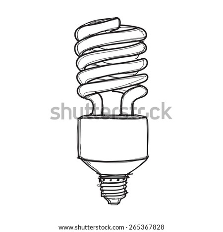 light bulb hand drawn sketch on white background vector