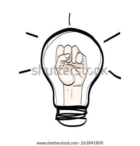 light bulb hand fight believe hand drawn vector on white background - stock vector