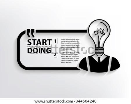 Light bulb human Quotation Mark Speech Bubble,design - stock vector