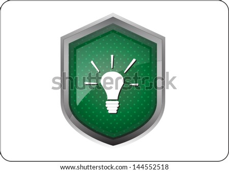 light bulb icon button on white background - stock vector