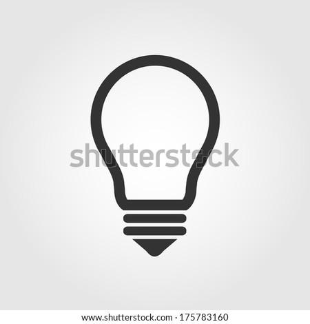 Light bulb icon, flat design - stock vector