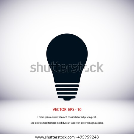 Light bulb icon, flat design best vector icon