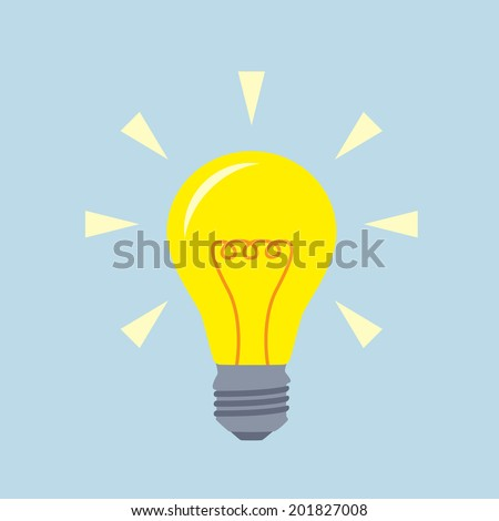light bulb icon, flat design, idea, creativity and innovation concept - stock vector