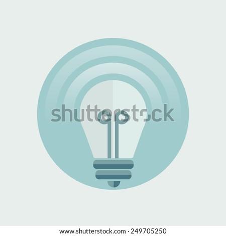 Light bulb icon in circle, flat design.Vector Illustration. - stock vector