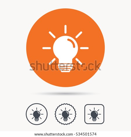 vector square blue icon lighting bulb. light bulb icon lamp sign illumination technology symbol orange circle button with web vector square blue lighting