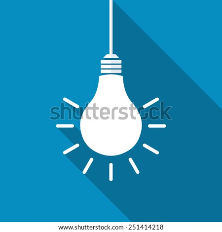 vector square blue icon lighting bulb. light bulb icon modern flat with long shadow effect vector square blue lighting i