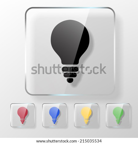 Light bulb icon on a transparent glossy square. Idea concept. - stock vector