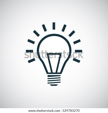 light bulb icon, on white background  - stock vector