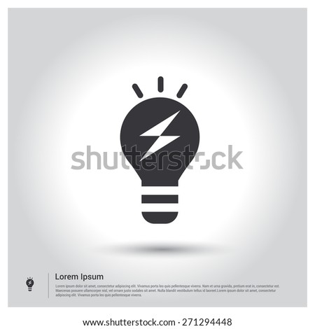 Light bulb icon, pictogram icon on gray background. Vector illustration for web site, mobile application. Simple flat metro design style. Outline Icon. Flat design style - stock vector