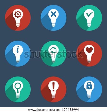 Light bulb icon set. Idea flat icons - stock vector