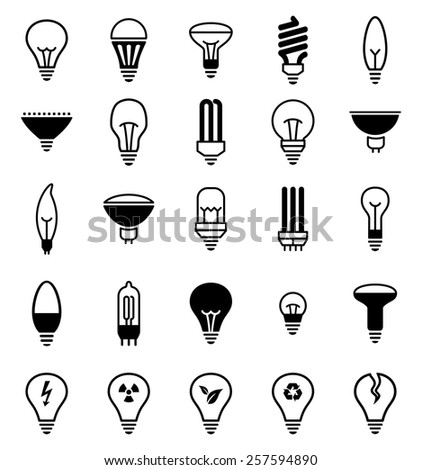 Light bulb icons - Illustration Vector illustration of lamp icons  - stock vector