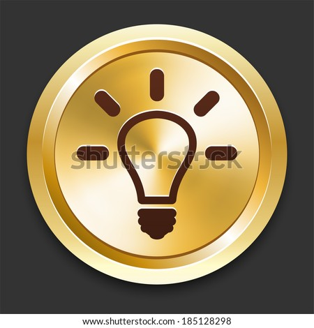 Light Bulb Icons on Gold Button Collection - stock vector