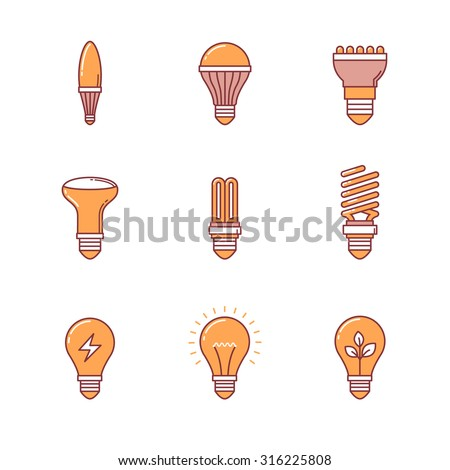 Light bulb icons thin line set. Flat style color vector symbols isolated on white. - stock vector