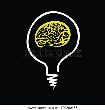 light bulb idea abstract sketch vector - stock vector