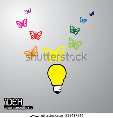 Light bulb idea & Butterfly vector illustration  - stock vector
