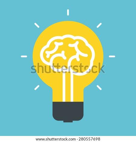 Light bulb idea. Concept of brain. - stock vector