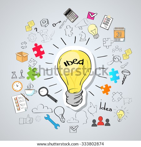 Light Bulb Idea Creative Concept Doodle Sketch Hand Draw Background Business Brainstorming Infographic - stock vector