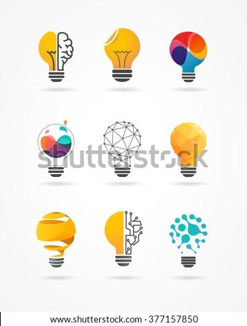 Light bulb - idea, creative, technology icons - stock vector