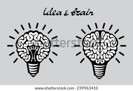 Light bulb idea human brain on gray background - stock vector