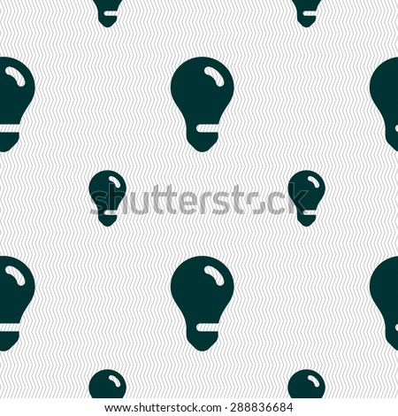 light bulb, idea icon sign. Seamless pattern with geometric texture. Vector illustration - stock vector