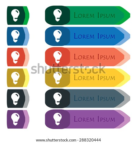 light bulb, idea icon sign. Set of colorful, bright long buttons with additional small modules. Flat design. Vector - stock vector
