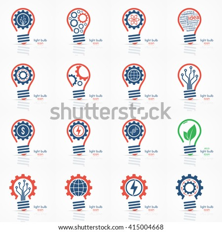 Light bulb idea icons set. Vector illustration. - stock vector