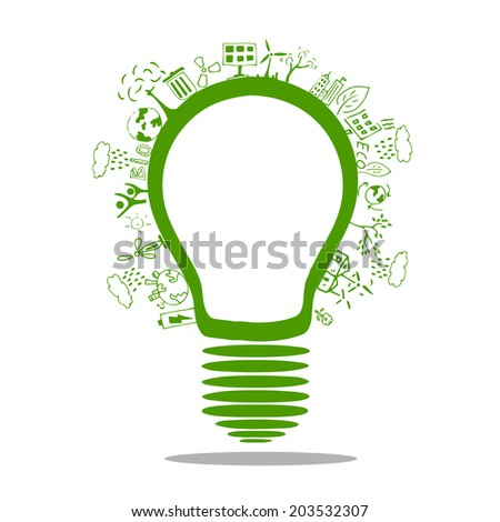 Light bulb idea with creative drawing environment ecology concept