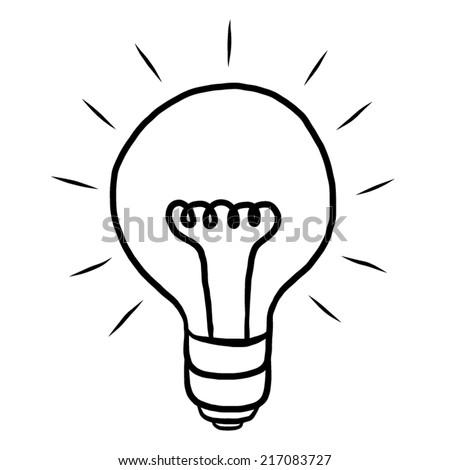 Bulb Ideas Cartoon Vector And Illustration Black White Hand