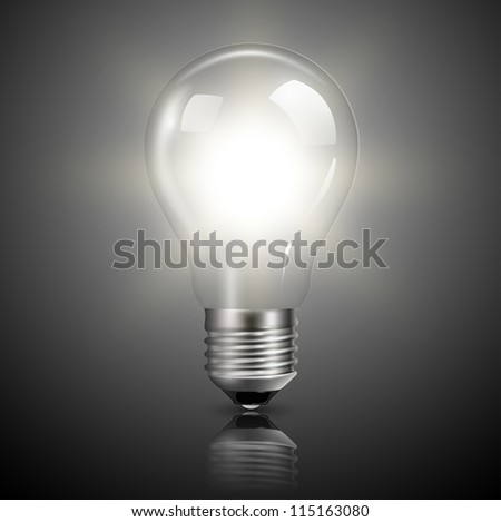 Light bulb illuminated, realistic vector illustration. - stock vector