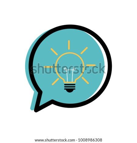 Light bulb in a speech bubble vector